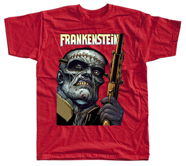 Frankenstein V27, film afişi, T-Shirt (KıRMıZı, SARı, ZEYTIN, SIYAH) TÜM BOYUTLARı S-5XL Baskılı T Gömlek 2018 Moda Marka Üst Tee