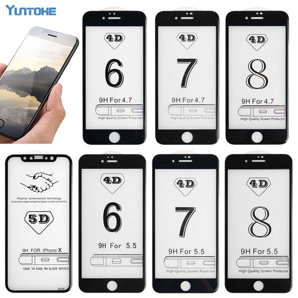 4D Full Cover Screen Protector Glass For IPhone 8 8 Plus 6 6S 7 Plus 6 6s 7 X Tempered Glass Toughened Film Over 3D
