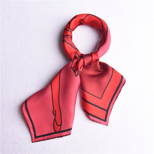 Small Square 100% Twill Silk Scarf Neckerchief Women Ladies Fashion Headband Wraps 53x53cm