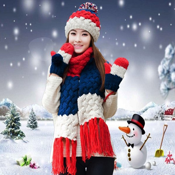 Hat scarf gloves three pieces set one piece muffler scarf girls female winter knitted hat christmas birthday gift thickening
