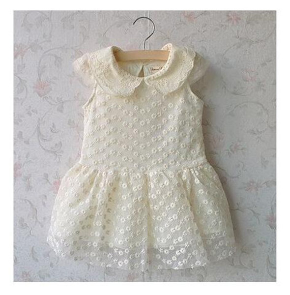 Retail free ship Summer 2018 Beautiful fashion Children's Girl Lapel lace Princess One-Piece Dress 2-8year
