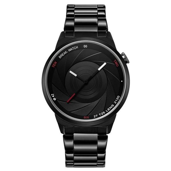 Мужчины роскошные кварцевые часы черный ремешок из нержавеющей стали военные часы затвора камеры форма водонепроницаемый фотограф серии наручные часы