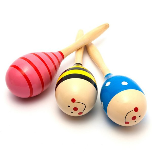 1PC Colorful Baby Toys Wooden Maracas Ball Rattle Kids Toys Sand Hammer Rattle Learning Musical Hammer Handle Baby Wooden Toys random color