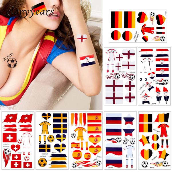 glaryyears 10 pezzi / lottp mondo 2018 tazza corpo autoadesivo del tatuaggio temporaneo gioco di calcio sport Russia paesi bandiere tatuaggio Hot MOT