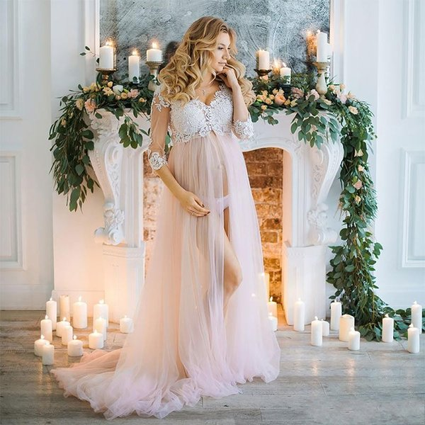 Sexy Pregnant Tulle Evening Dresses Lace 3/4 Sleeve Illusion Maternity Women Prom Dress Vestido De Noche Plus Size Party Gowns