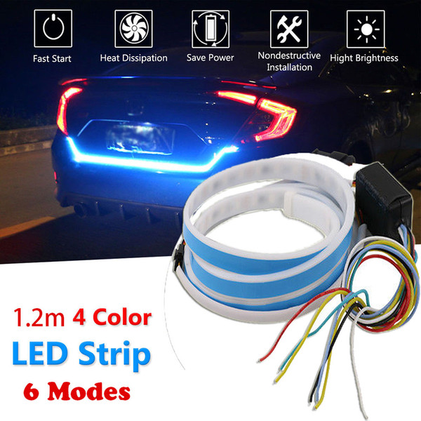 top popular 1.2m 12V 4 Color RGB Flow Type LED Car Tailgate Strip Waterproof Brake Driving Turn Signal Light Car Styling High Quality 2021