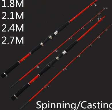 Red Crabon Boat Fishing Rod Spinning/Casting Lure Rod Jigging Rod Deep Sea Fishing Tackle