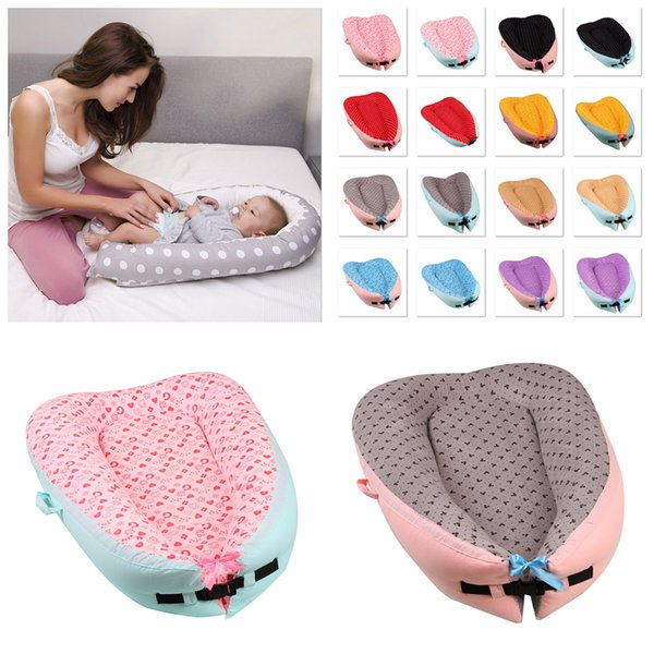 16 Styles Portable Baby Dot Printed Nest Bed Newborn Milk Sickness Bionic Bed Infant Crib Cot Travel Bed Pod AAA949
