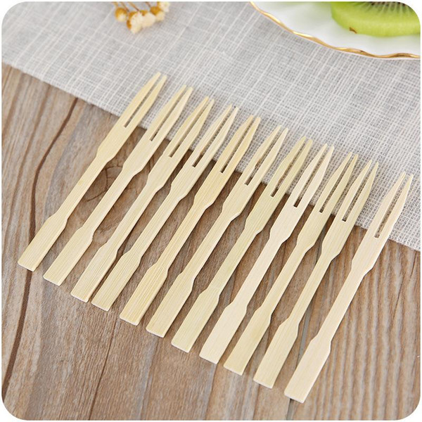 80pcs/pack Disposable Bamboo Food Picks Fruit Fork Sticks Buffet Cupcake Toppers Cocktail Forks Wedding Festival Decor