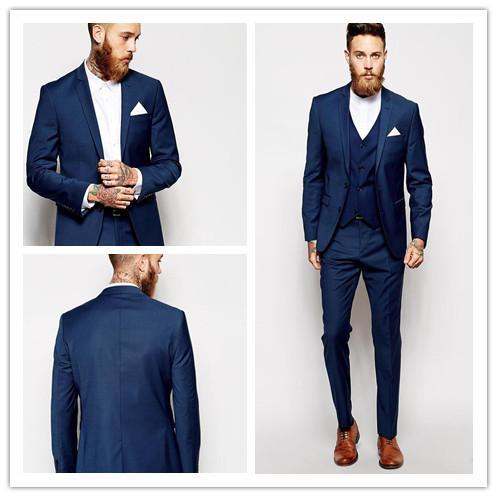 Custom Made Two Pieces Dark Blue Groom Tuxedos Grooms men Slim Suits Fit Best Man Wedding Tuxedos Suit Men's Suits Groom Wear (Jacket+Pants)