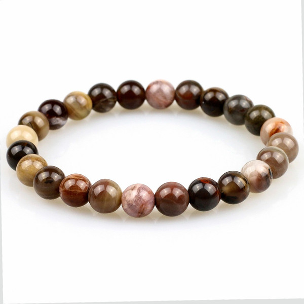 Natural Petrified Wood Stone Beaded Bracelet For Men and Women Jewelry Retro and Nostalgic,New Design Stretch Yoga Gift