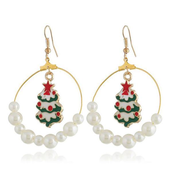Moda albero di natale cerchio con perla ciondola gli orecchini di gioielli nuovi orecchini donne gioielli di decorazione di Natale