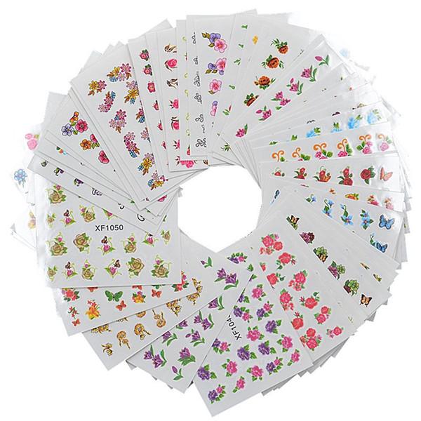 Cute Different Flower Pattern 60 Sheet/Sets Nail Art Sticker Decal DIY 3D Nail Print Sticker Water Decals Korea Women Applique