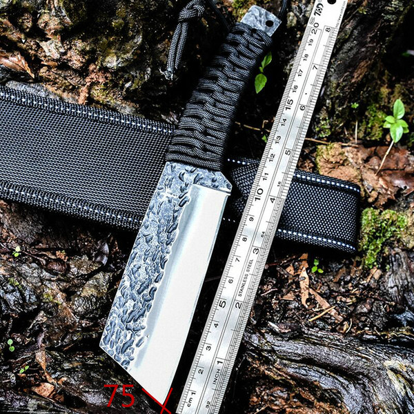 High hardness straight knife hand forged outdoor portable field survival blade knife saber ks18