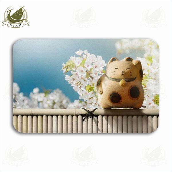 Vixm Japonês Beckoning Mascote Do Gato Sorte Na Plantação de Chá Verde Bem-vindo Porta Tapetes de Flanela Anti-slip de Entrada Tapete de Banho de Cozinha Interior