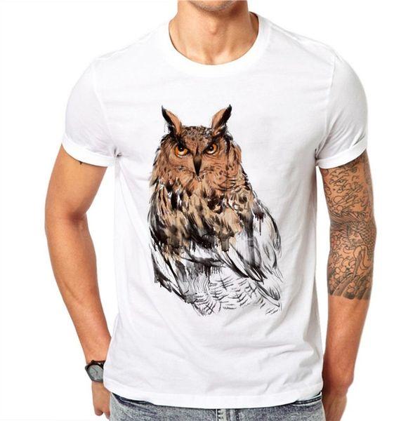 100% Algodão 3D Coruja T-Shirts Dos Homens Tops de Verão Tees Imprimir Animal T Shirt Dos Homens O-pescoço de Manga Curta Moda T-shirts Plus Size