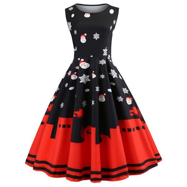 Women Christmas Dress 2018 Floral Slim Vintage Dress Sleeveless Casual Elegant Party Festival Gift Dresses Vestidos Plus Size