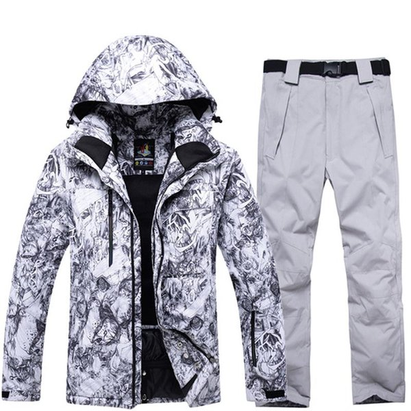 Warm Up -30 Degrees Ski Jacket Pants For Men Waterproof Winter Men's Mountain Skiing Suit Windproof Snow Clothing Male Printed