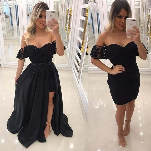 2018 Charming Black Evening Dresses With Detachable Train two pieces little black prom dresses bling beaded off shoulder lace formal gowns