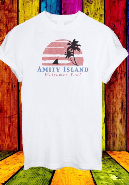Amity Island Welcomes You Jaws Retro Movie 70's 80's Men Women Unisex T-shirt 29 Funny free shipping Unisex Casual gift