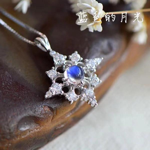 ciondolo gemma naturale naturale blu pietra di luna ciondolo in argento sterling 925 moda elegante gioielli regalo ragazza carina stelle
