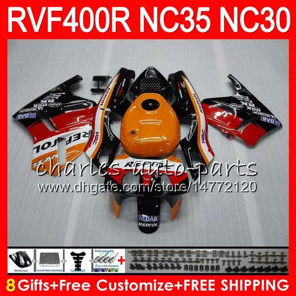 RVF400R For HONDA VFR400 R NC30 V4 VFR400R 89 90 91 92 93 82HM.0 RVF VFR 400 R NC35 VFR 400R 1989 1990 1991 1992 1993 Fairings Repsol Orange