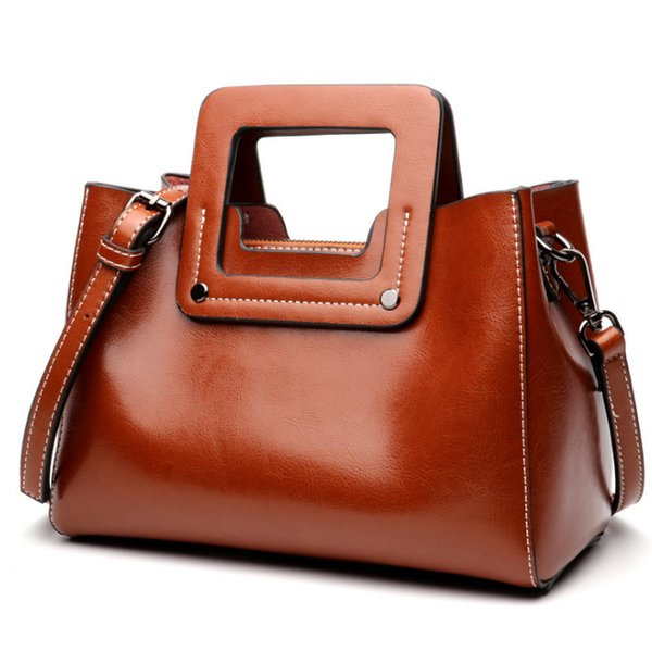 Genuine Leather Women Tote Bags New Arrival Lady Handbags Fashion Cowhide Cross-body Bags Black Brown Green