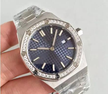 HOt selling Luxury Watch Ladys 33MM Quartz Movement Diamonds Ring Blue face Stainless Steel Sapphire womens watches free shippingfor gift