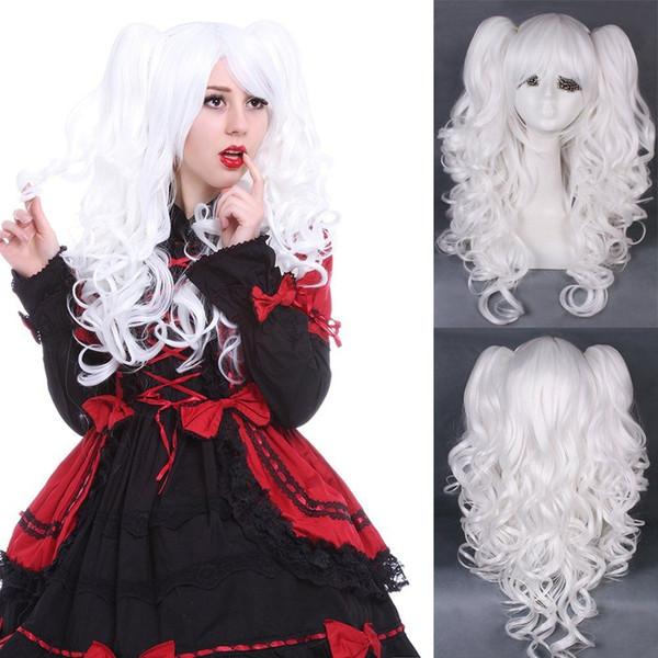 Parrucca Lolita Onda riccia ondulata Clip su 2 coda di cavallo parrucche bianche per capelli