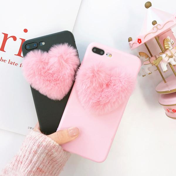 Japón, Corea del Sur, lindo corazón 3D, caja del teléfono suave para iphone 5 5s 6 6s 7 8 más X cubierta para samsung galaxy S6 S7 edge S8 nota 8