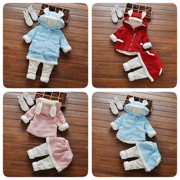 Wholesale New baby girls cute winter Outfits 2pcs Baby Girls Clothing Sets rabbit ear sweater Top+pant skirt Princess todder Clothes Suit