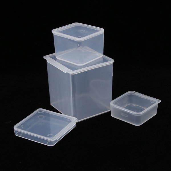Multi Size Square Clear Plastic Jewelry Storage Boxes Beads Crafts Case Containers Free Shipping