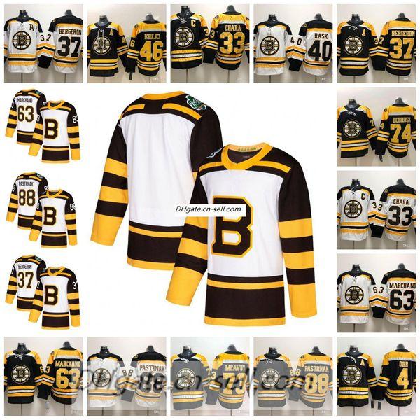 d706822db Custom 2019 Winter Classic Boston Bruins 37 Patrice Bergeron 40 Tuukka Rask  Brad Marchand Pastrnak 33 Zdeno Chara Hockey Jerseys Stitched