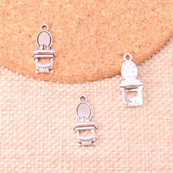 80pcs Antique silver toilet table Charms Pendant Fit Bracelets Necklace DIY Metal Jewelry Making 20*9mm