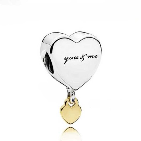 2018 Valentine's Day Authentic 925 Sterling Silver Two Hearts Charm Fits European Style Jewelry Bracelets