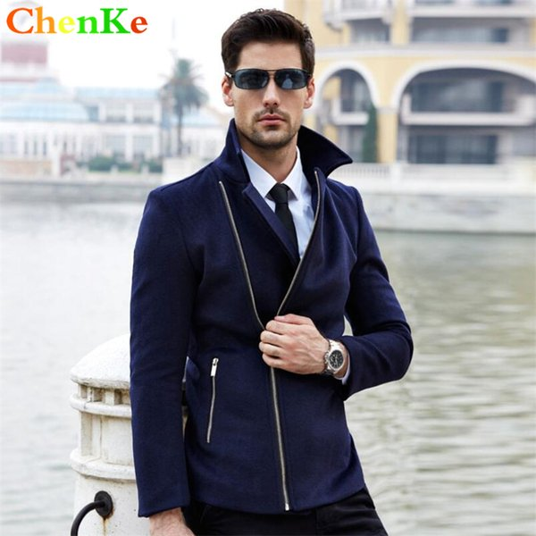 ChenKe 2016 Winter New Long Men Peacoat Coat Turn Down Collar Navy Winter Wool & Blends Coat Men Brand Jacket