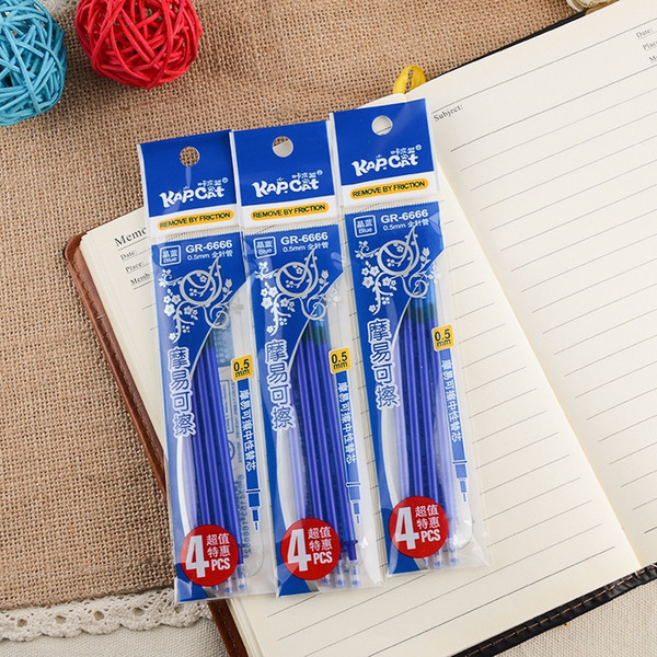 3Packs/set 12Pcs 0.5mm Erasable Pen Refills Blue and Black Ink A Magical Writing Gel Pen Refills