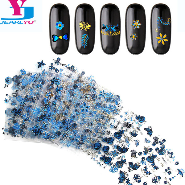 15 Sheets Gold Butterfly Blue Nail Art Stickers Nail Polish Strips Art Design Decorations Self Adhesive Wrap Styling Tools