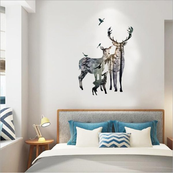 Elk Silhouette Wall Stickers Cartoon PVC Self-adhesive Wallpapers Arts Murals Can Be Removable Sitting Room Bedroom Decor Free Shipping