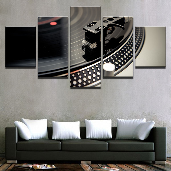 Poster Wall Art Home Decor Canvas Living Room Printed 5 Panel DJ Music Instrument Turntables Modern HD Frame Painting Pictures