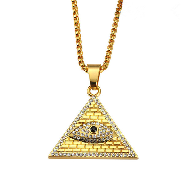 Mens Geometric Pendant Necklaces Eye Design Full Crystal Rock Micro Hip Hop Fashion Jewelry Necklace With Mens 75cm Long Chains
