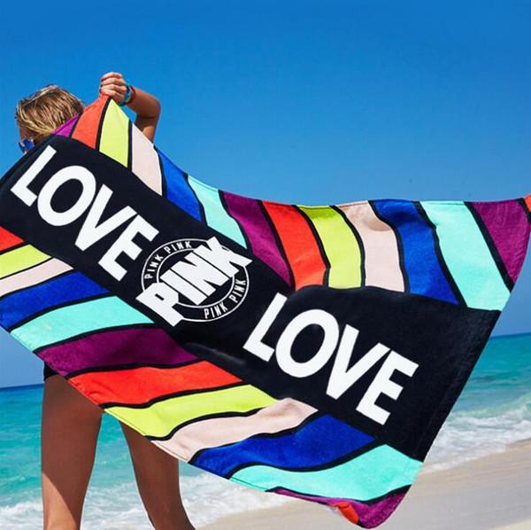 Drucken LIEBE Badetücher Frauen Mädchen SPA Dusche Badetuch Decken Schal Schals Wrap Rosa saugfähigen Bademantel tragbare Magie Handtuch 147 * 71 cm