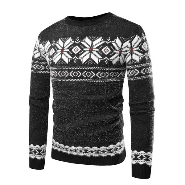 Sweater Men 2018 Autumn Winter Round Neck Long Sleeve Warm Snowflake Pullover Masculino Sweater Men black/blue M-XL