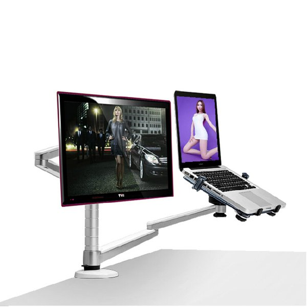 OA-7X Multifunction TV Mount Monitor + Laptop Holder Height Adjustable Dual Arm 360 Degree Rotation Desktop Aluminum Alloy Stand