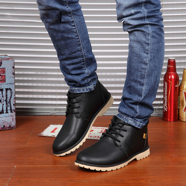 Winter Lace-Up Style Ankle Classic Cotton Padded Shoes Plush Warm Man Snow Boots