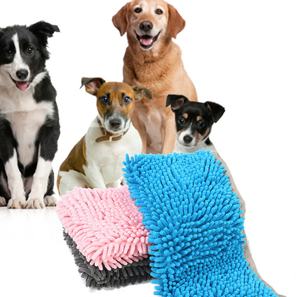 Fast Shipping Absorbent Pet Towel Cat Dog Bath Washing Towel Fiber Chenille Dog Shampoo Pet Hair Cleaning Supplies