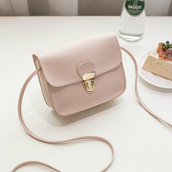 Crossbody Bags For Women 2018 New Korean Style Mini Pink Bag Envelope Lock Student Shoulder Bag PU Leather Girls Messenger Bags