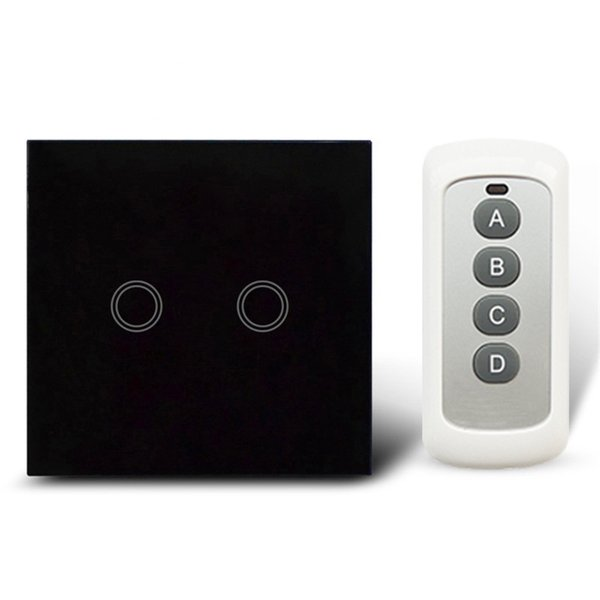 Remote Control Touch Switches Panel Light Wall waterproof crystal glass 2 Gang 1 Way 433MHz With Pilot.EU/UK standard