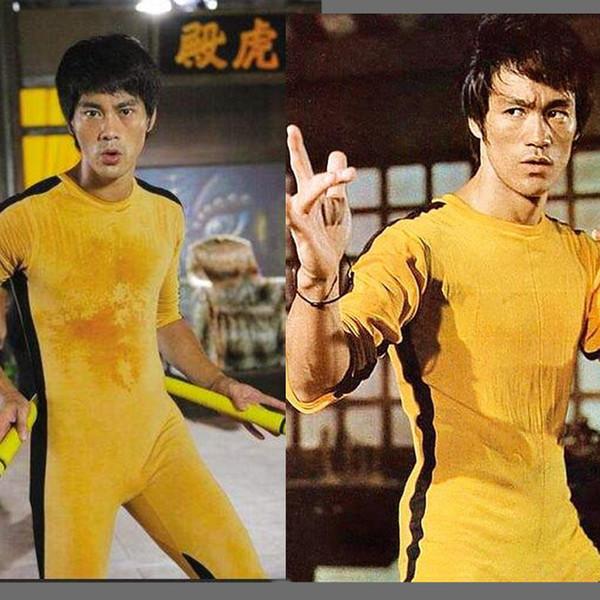 Jeet Kune Do Juego de los uniformes de la muerte del traje del mono de Bruce Lee Kung Fu amarillo clásico Cosplay JKD