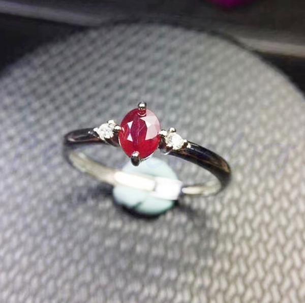 Anello rubino Spedizione gratuita Natural real ruby 925 sterling silver 0.5ct gemstone Fine jewelry Women rings # SB18100308